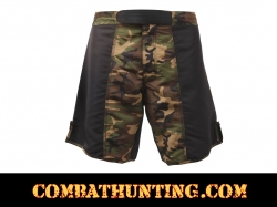 Rothco MMA Fighting Shorts Black & Woodland Camo