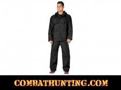 Mens 2 Piece Black Microlite PVC Rainsuit