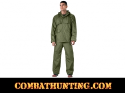 Olive Drab Mens 2 Piece Microlite PVC Rainsuit