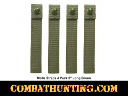 "Military Green Molle Straps 4 Pack 6"" Long"