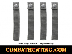 "Urban Gray Molle Straps 4 Pack 6"" Long"