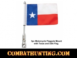 Motorcycle Flagpole Mount with Texas and USA Flag
