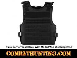 Plate Carrier Vest Black With Molle/PALs Webbing 2XL+