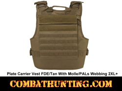 Plate Carrier Vest FDE/Tan With Molle/PALs Webbing 2XL+