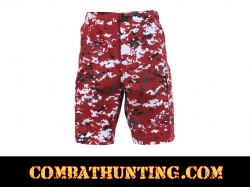 Red Digital Camo BDU Military Shorts