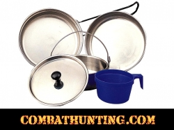 Camping Mess Kit Self Nesting 5 Piece Set Stainless Steel