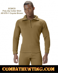 Rothco ECWCS Poly Zip Collar Shirt Top AR 670-1 Coyote Brown