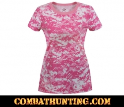 Pink Digital Camo Womens Long Length Camo T-Shirt