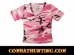 Pink Womens Short Sleeve Camo V-Neck T-Shirt