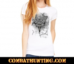 Rut Junkie Deer Skull Addicted Womens T-Shirt