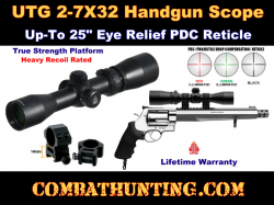 "UTG 2-7X32 1"" Handgun Scope Up To 25"" Eye Relief PDC Reticle"