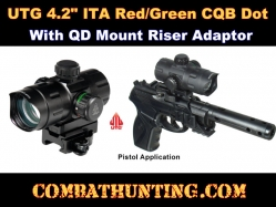 "UTG 4.2"" ITA Red/Green CQB Dot with QD Mount, Riser Adaptor"