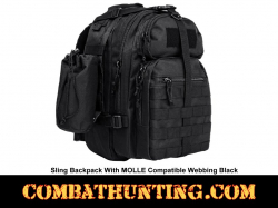 Sling Backpack With MOLLE Compatible Webbing Black