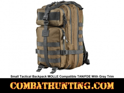 Small Tactical Backpack MOLLE Compatible Tan & Gray