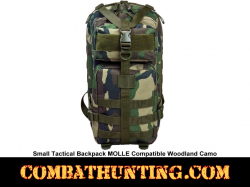 Small Tactical Backpack Woodland Camo MOLLE Compatible
