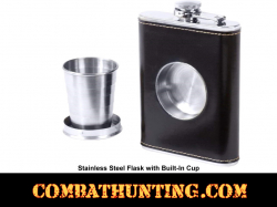 Stainless Steel Flask with Built-In Cup 6.8oz
