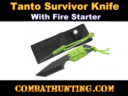 Tanto Survivor Knife With Fire Starter Green