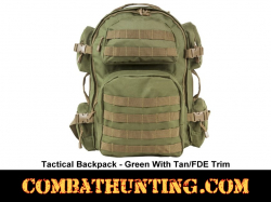 Tactical Backpack Green With FDE/Tan Trim MOLLE