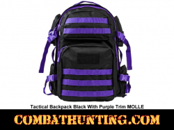 Tactical Backpack Black With Purple Trim MOLLE