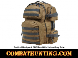 Tactical Backpack Tan With Urban Gray Trim Molle