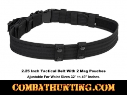 "Black Tactical Belt 2.25"" With 2 Mag Pouches & 4 Belt Keepers"