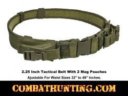 "Green Tactical Belt 2.25"" With 2 Mag Pouches & 4 Belt Keepers"