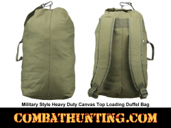 Small Heavy Duty Canvas Top Loading Duffel Bag Military Green
