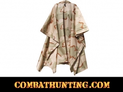 Tri-Color Desert Camo G.I. Type Military Rip-Stop Poncho