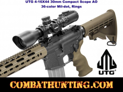 UTG 3-12X44 30mm Compact Scope, AO, 36-color Mil-dot, Rings