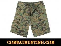Vintage Woodland Digital Camo Cargo Shorts