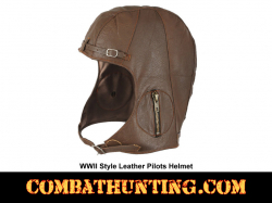 Pilots Helmet WWII Style Brown Leather M/L
