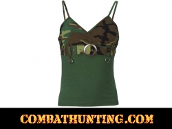 Womens Camo 2-Tone Tank Top With Buckle