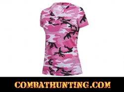 Womens Long Length Pink Camo V-Neck T-Shirt