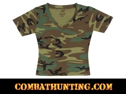 Womens Woodland Camo  V-Neck T-Shirt