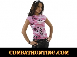 Womens Short Sleeve Pink Camo Raglan T-Shirt