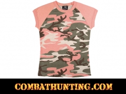Womens Short Sleeve Subdued Pink Camo T-Shirt