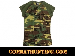 Womens Short Sleeve Woodland Camo T-Shirt
