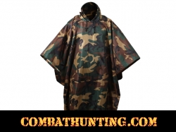 Woodland Camo G.I. Type Military Rip-Stop Poncho
