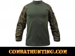 Woodland Digital Camo Military FR NYCO Combat Shirt