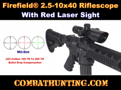 Firefield 2.5-10x40mm AR-15/M16 Rifle Scope With Red Laser