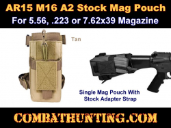 AR15 A2 Molle Butt Stock Mag Pouch Tan