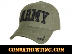 Olive Drab Deluxe Army Embroidered Low Profile Insignia Cap