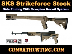 ATI SKS Strikeforce Stock With Scorpion Recoil System Six Position Side Folding Stock FDE