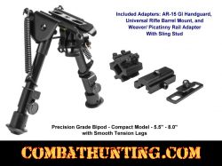 NcSTAR Precision Grade Bipod Compact 5.5 to 8 inches 3 Adaptors