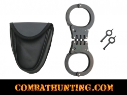 Black Hinged Handcuffs With Pouch & 2 Keys