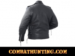 Mens Solid Black Leather Biker Motorcycle Jacket