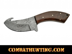 Damascus Skinning Knife With Gut Hook