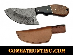 Damascus Skinning Knife with stag horn & Walnut Handle