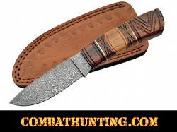 Damascus Steel Hunting Knife With Carved Rose & Olive Wood Handle