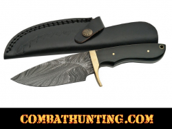 Damascus Steel Hunting Knife With Horn Handle